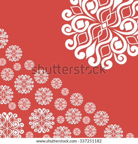 abstract illustration with snowflakes on red background.vector illustration - stock vector