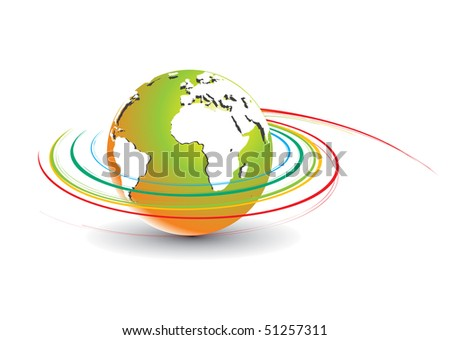 Abstract illustration with swirl globe, vector illustration.