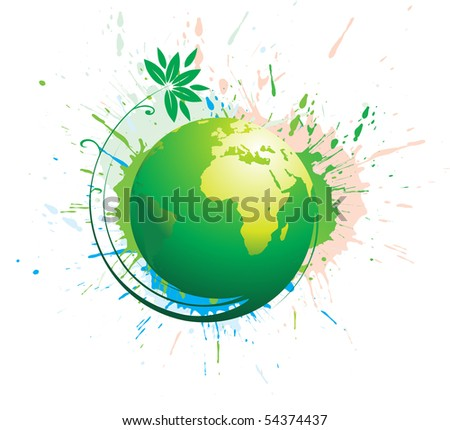 Abstract illustration with swirl grunge globe, vector, illustration. - stock vector