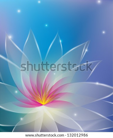 Abstract illustration with white and pink vector lotus - stock vector