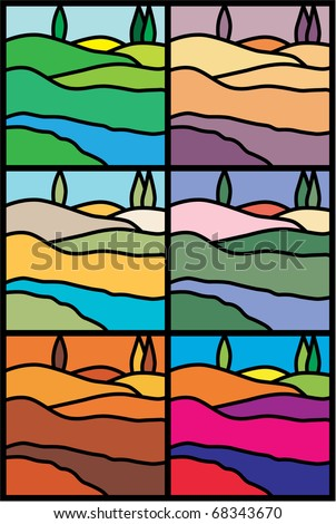 Abstract illustrations, Italian landscape ala- stained-glass window - six moods, six flavors, six collections of colors. Can be used as label line for collection wine or etc. - stock vector