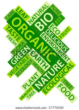 Abstract image made from green words which relate with organic and bio