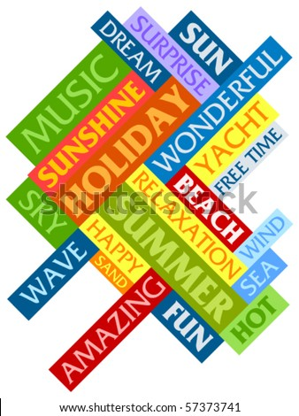 Abstract image made from words which relate with summer and holiday