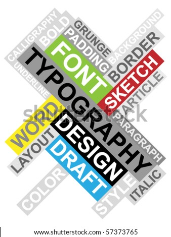 Abstract image made from words which relate with typography and design - stock vector
