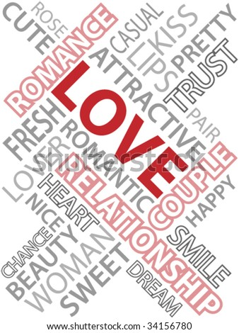 Abstract image made from words which relate with word love. - stock vector
