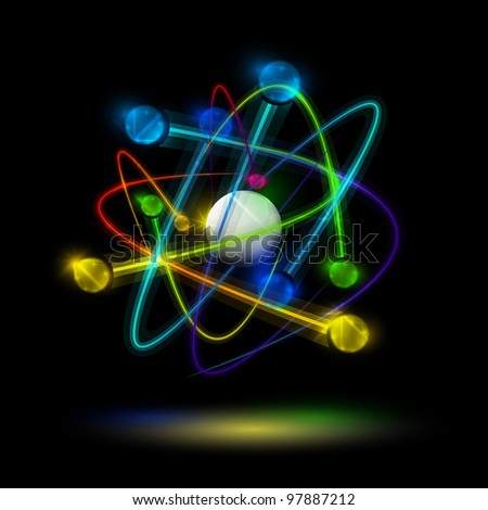Abstract image of an atom with electrons on a black background. Eps 10 - stock vector