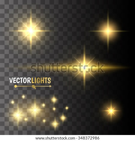 Abstract image of lighting flare. Set of golden lights - stock vector
