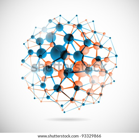 Abstract image of the molecular structure in the form of a sphere. Eps 10 - stock vector