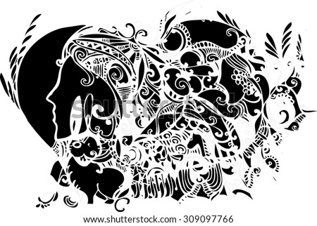 Abstract imagination line art and nature elements