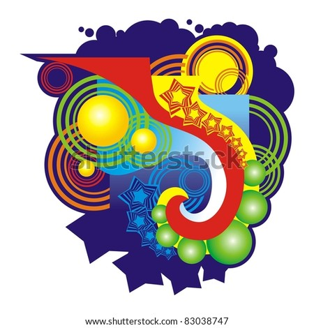 Abstract ???????? in style of discos - stock vector