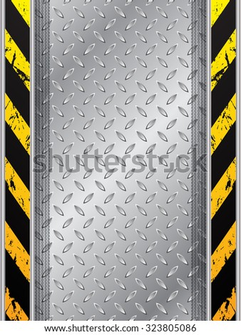 Abstract industrial background design with tire tracks and striped bars - stock vector