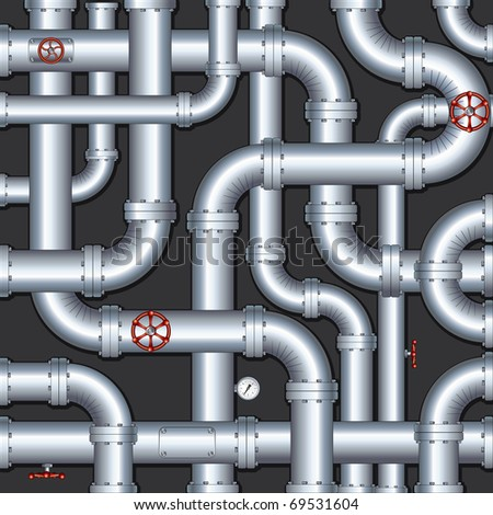 Abstract Industrial Vector Background with chaotic pipeline construction, all vector elements separated - stock vector