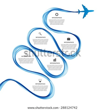 Abstract infographic airplane and wave a blue smoke. Vector illustration.  - stock vector