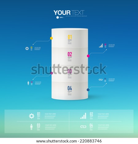 Abstract infographic design with blue sky background can be used for workflow layout, diagram, chart, number options, presentation, web design.  Eps 10 stock vector illustration  - stock vector