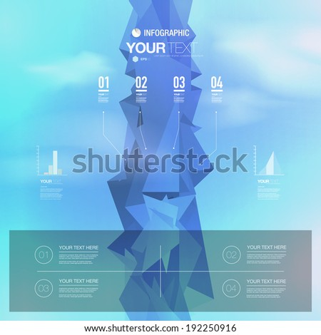 Abstract infographic design with 3d futuristic landscape background with blue sky and clouds. Eps 10 stock vector illustration - stock vector