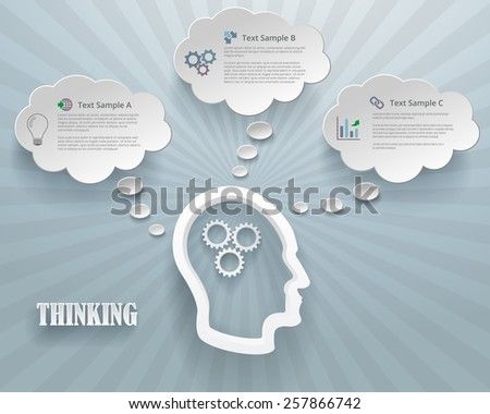 Abstract infographic representation of thinking options. Heads with gears and cloud bubbles on a blue background. - stock vector
