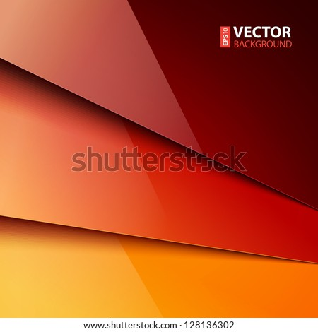 Abstract infographics background with red and orange shiny paper layers. RGB EPS 10 vector illustration - stock vector