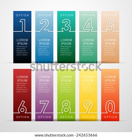 Abstract infographics number for design. Vector illustration template. - stock vector