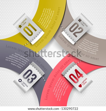 Abstract infographics paper elements with numbered labels - vector illustration - stock vector