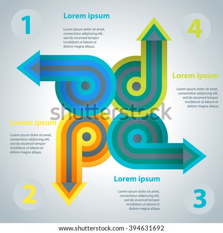 Abstract infographics template with arrows directed from the center. Vector illustration. Template for workflow layout, diagram, number options, business step options, banner, web design. - stock vector
