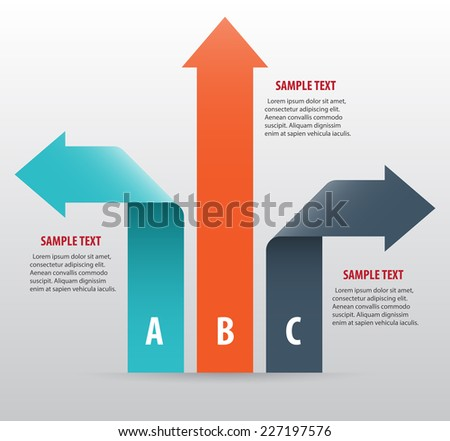 Abstract infographics with arrows and ribbons. Vector art - stock vector