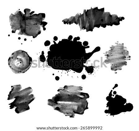 Abstract ink paint texture vector  on white background - stock vector