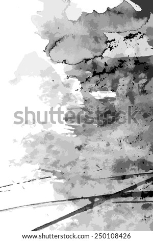 Abstract ink paint vector background on white - stock vector