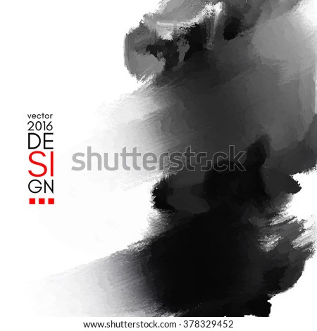 Abstract inkblot background. Monochrome grunge paint design. Vector illustration. - stock vector