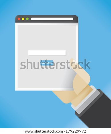 Abstract internet browser search page in businessman hand - stock vector