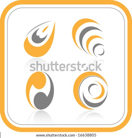 Abstract internet icons. Orange set. Simply change. Vector illustration.