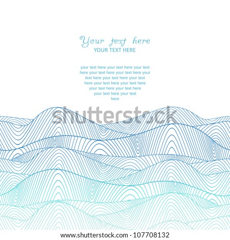 Abstract invitation card. Template wave design for card.Abstract sea background, wave theme fashion seamless pattern, vector wave ornaments - summer, maritime theme for design - stock vector