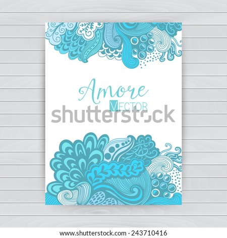 Abstract invitation card with abstract wave. Template wavy frame design for card, banner on wood - stock vector