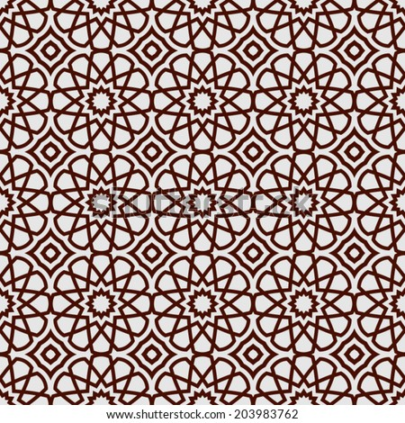 Abstract islamic background, ramadan theme, geometric ornamental seamless pattern,  monochrome vector wallpaper, fashion fabric and wrapping with graphic element for design - stock vector