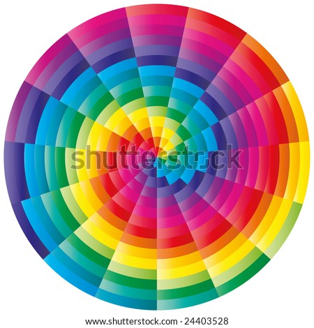 Abstract isolated colorful spiral ornament - stock vector