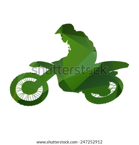 Abstract isolated green vector motocross. Enduro racer - stock vector