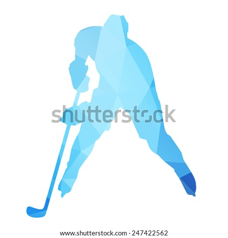 Abstract isolated hockey player - stock vector