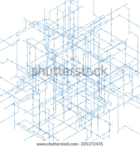 Abstract isometric computer generated 3 d blueprint vector de abstract isometric computer generated 3d blueprint visualization lines background vector illustration for break through in malvernweather Choice Image