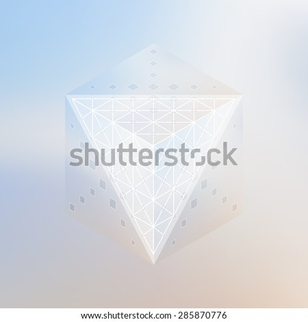 Abstract isometric cube and prism with the reflection of the environment and low poly triangles on blurred background. Vector futuristic backdrop in pastel shades. - stock vector