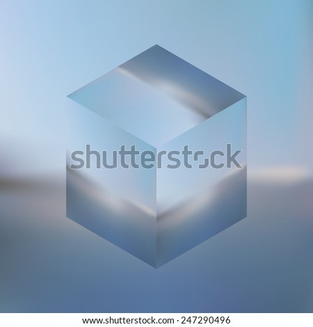 Abstract isometric cube on blurred sea background. Vector Minimalistic multifunctional blurry backdrop.