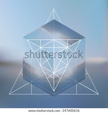 Abstract isometric cube with the reflection of the environment and low poly triangles on blurred background. Vector Minimalistic multifunctional blurry backdrop. - stock vector