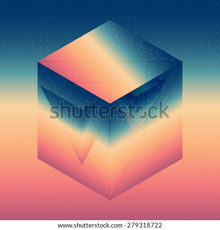 Abstract isometric cube with the reflection of the space and low poly triangles on blurred background. Vector futuristic multifunctional backdrop. - stock vector