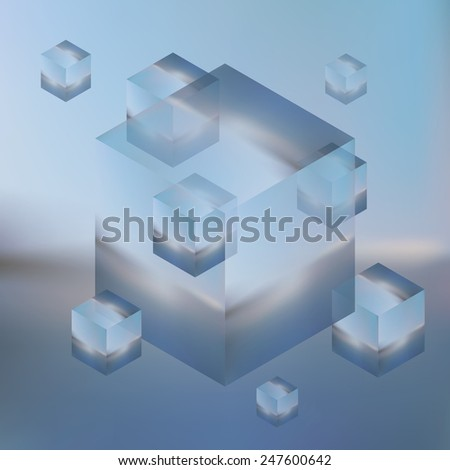 Abstract isometric cubes on blurred background. Vector Minimalistic multifunctional blurry backdrop. - stock vector