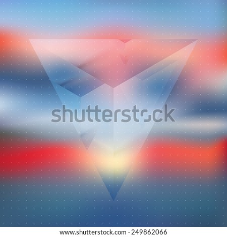Abstract isometric prism with the reflection of the environment on blurred background. Minimalistic blurry backdrop. Futuristic object levitating in sunset light. Vector Double exposure. - stock vector