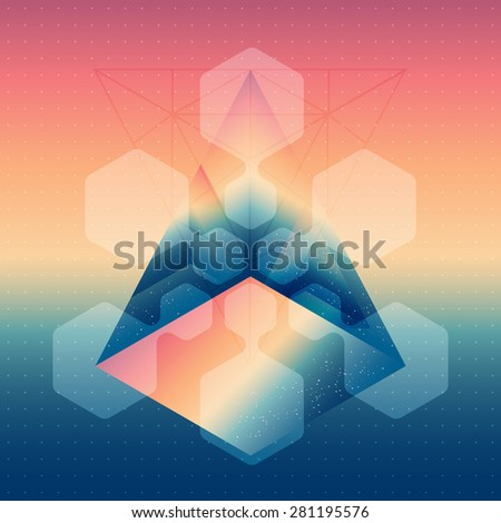 Abstract isometric prism with the reflection of the space and low poly triangles on blurred background. Vector futuristic multifunctional backdrop abstract design elements. - stock vector