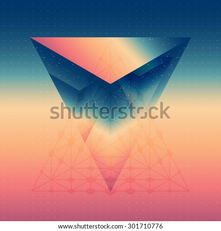 Abstract isometric prism with the reflection of the space and low poly triangles on blurred background. Vector futuristic backdrop with sky. - stock vector