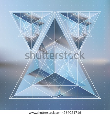 Abstract isometric pyramids with the reflection of the environment and low poly triangles on blurred background. Vector futuristic blurry backdrop. - stock vector