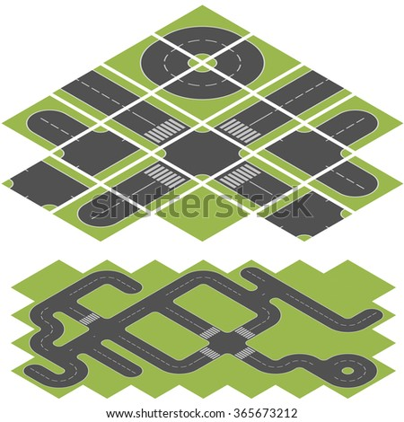 Abstract isometric road vector template isolated on white background. - stock vector
