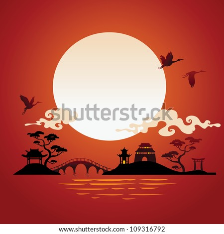 Abstract japanese background - sunset. - stock vector