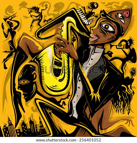 Abstract Jazz Art, Saxophonist of the City (vector Art) - stock vector