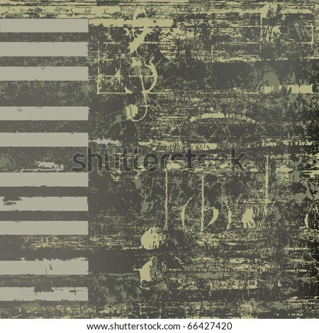 abstract jazz background grunge piano keys on black - stock vector